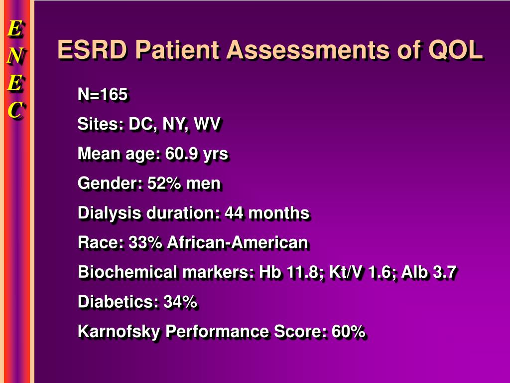 ESRD Patient Assessments of QOL
