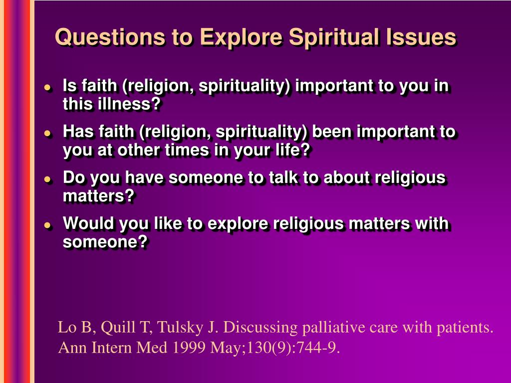 Questions to Explore Spiritual Issues