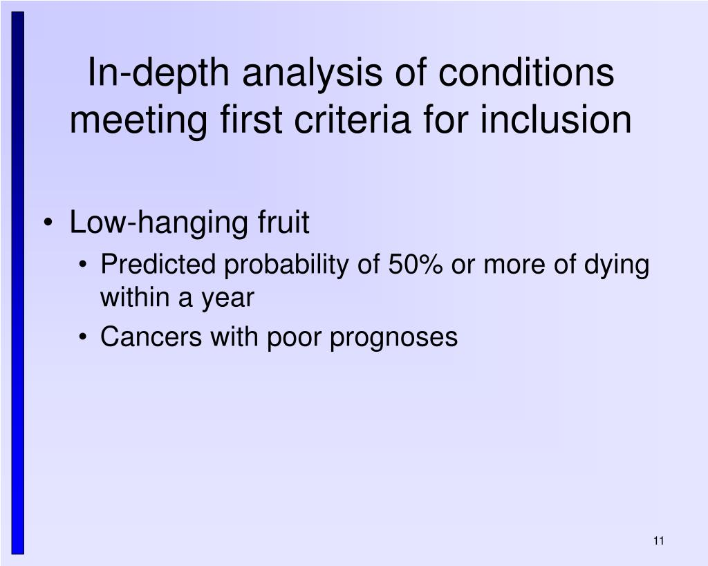 In-depth analysis of conditions meeting first criteria for inclusion