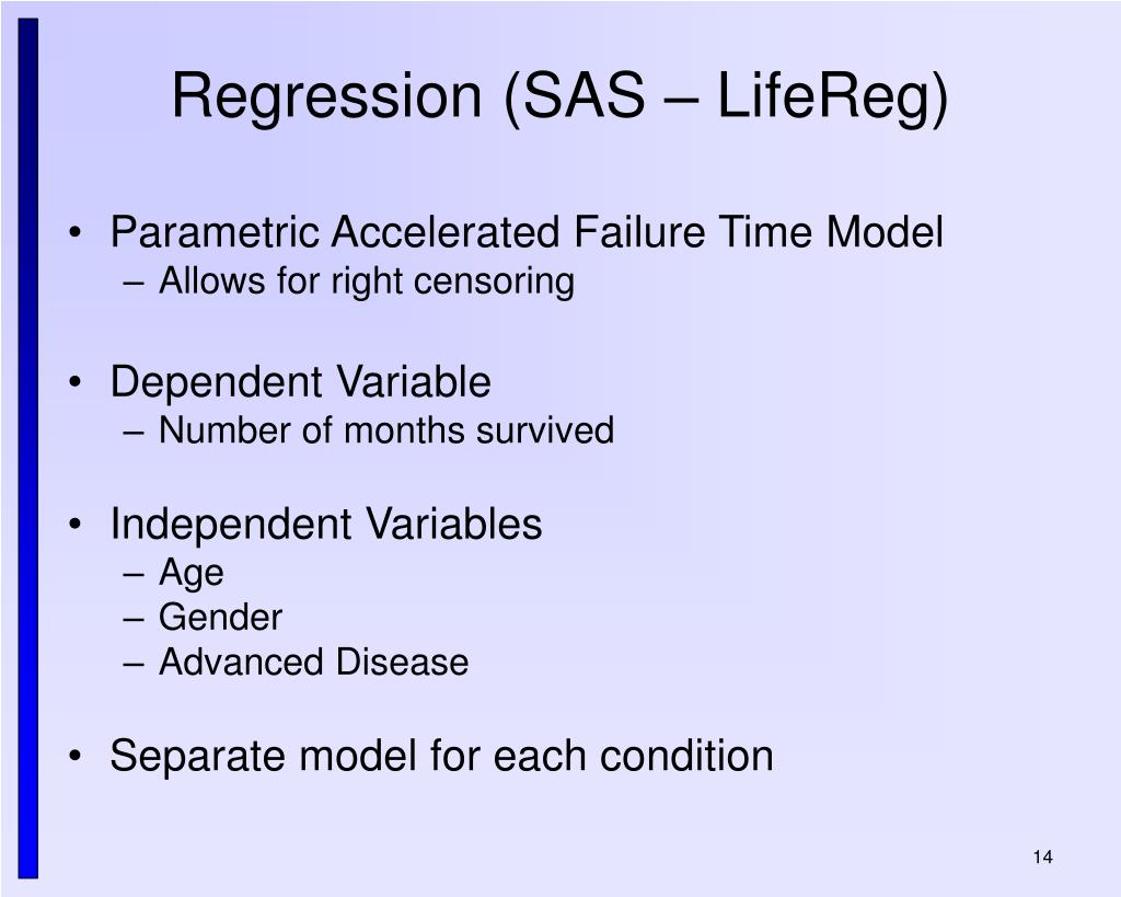 Regression (SAS – LifeReg)