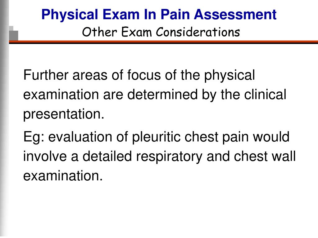 Physical Exam In Pain Assessment