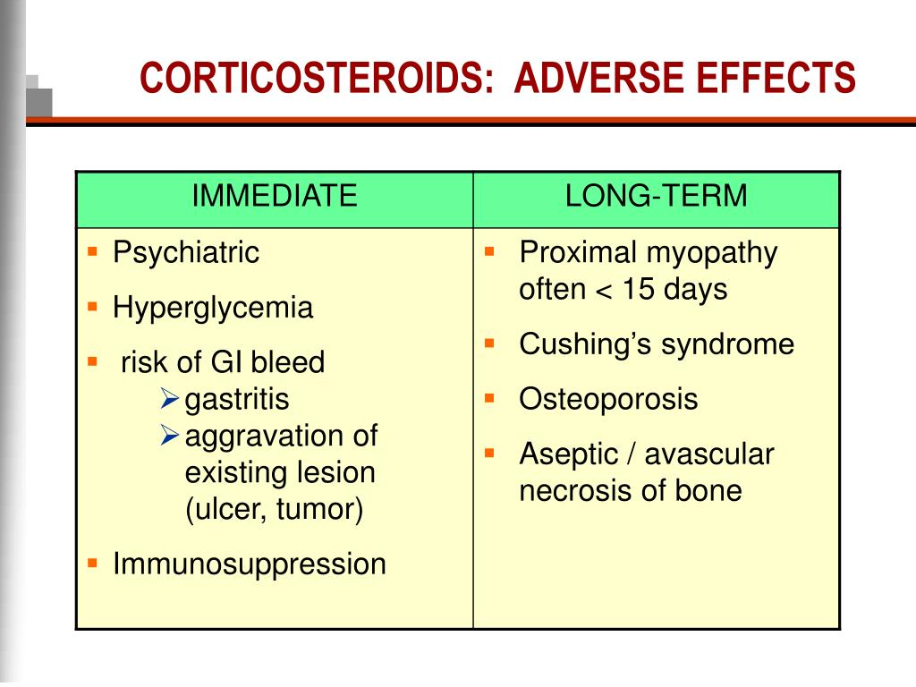 CORTICOSTEROIDS:  ADVERSE EFFECTS