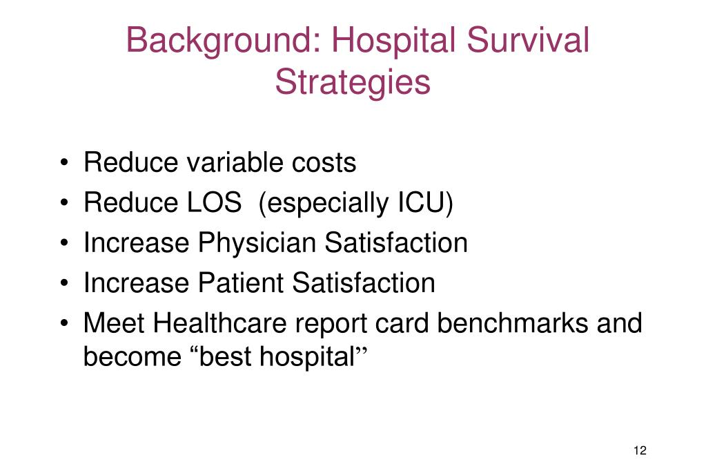 Background: Hospital Survival Strategies