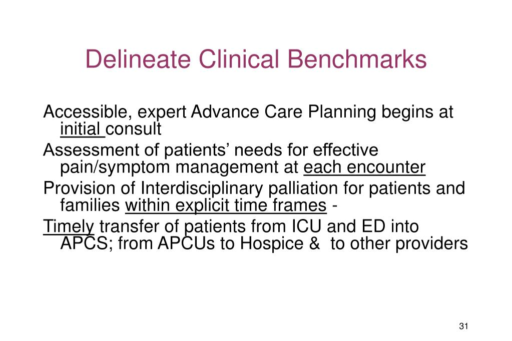 Delineate Clinical Benchmarks