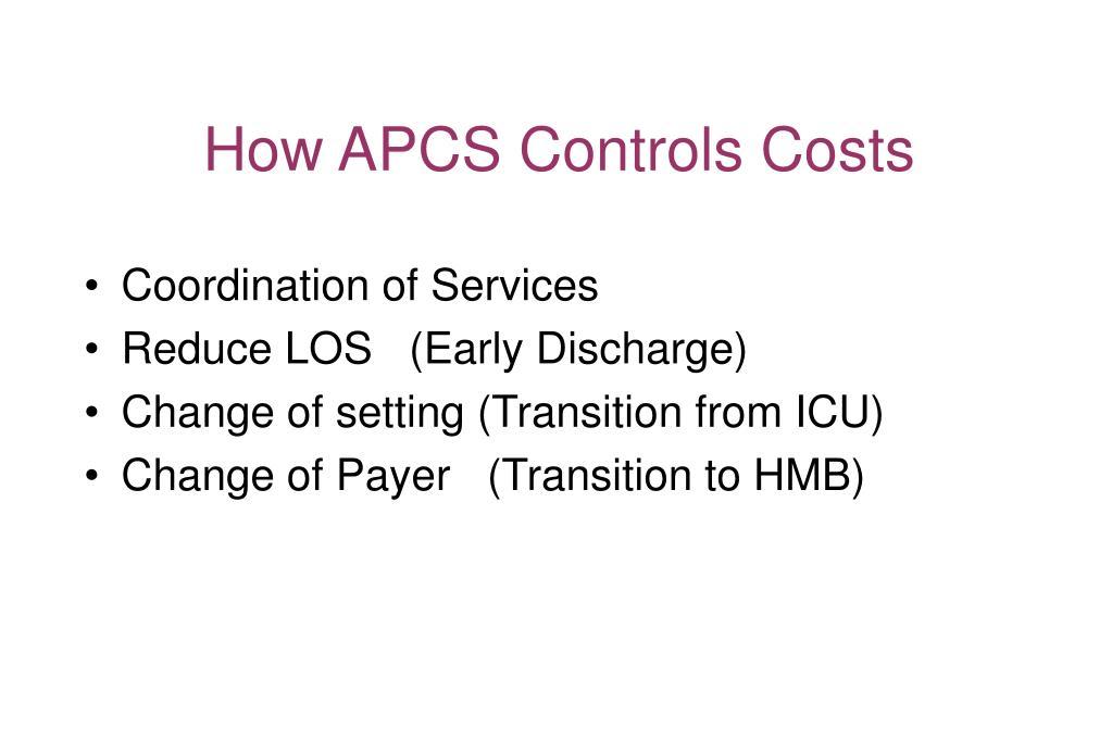 How APCS Controls Costs