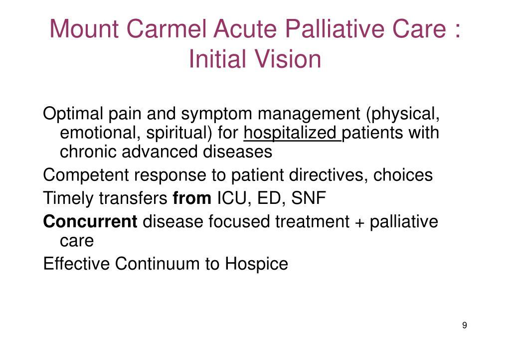 Mount Carmel Acute Palliative Care : Initial Vision