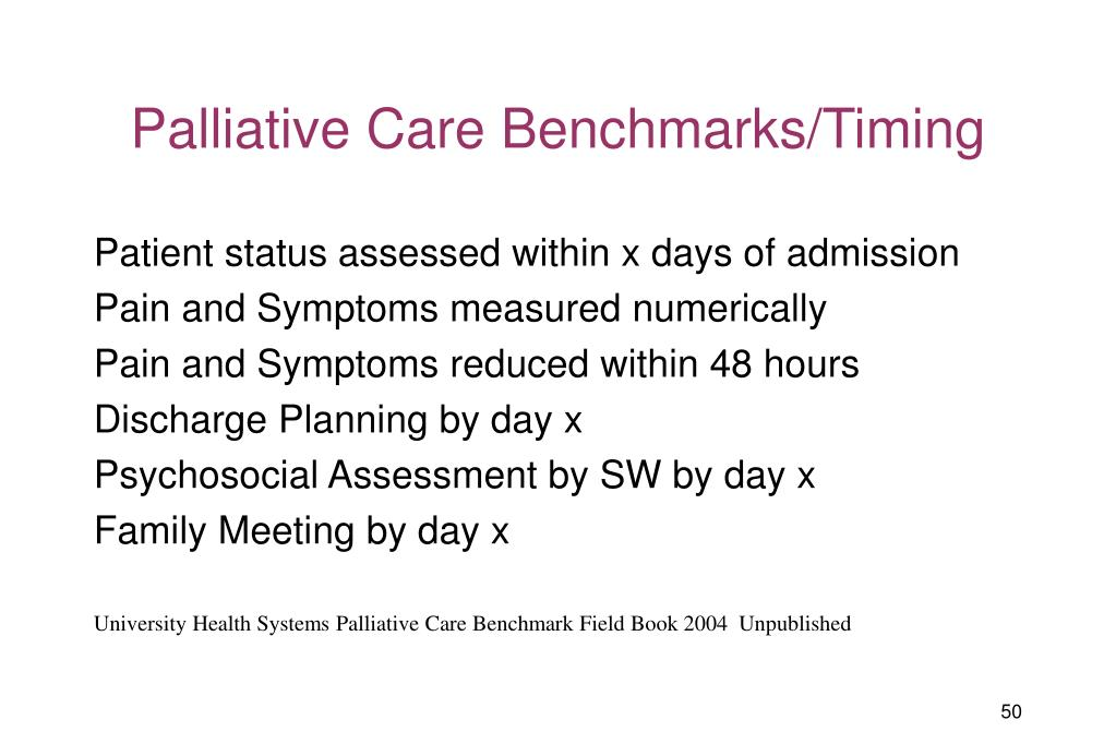 Palliative Care Benchmarks/Timing