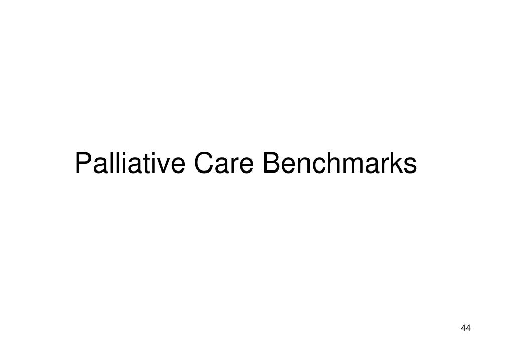 Palliative Care Benchmarks