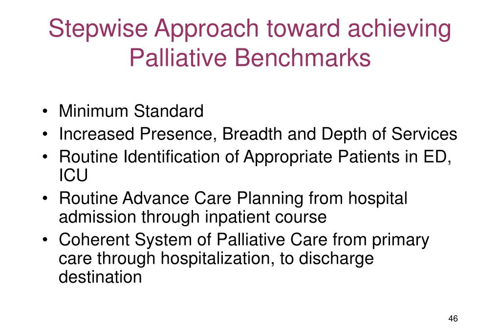 Stepwise Approach toward achieving Palliative Benchmarks