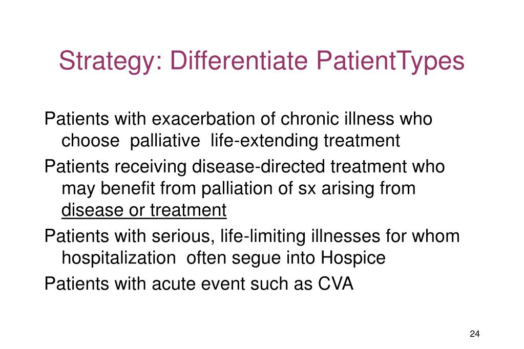 Strategy: Differentiate PatientTypes