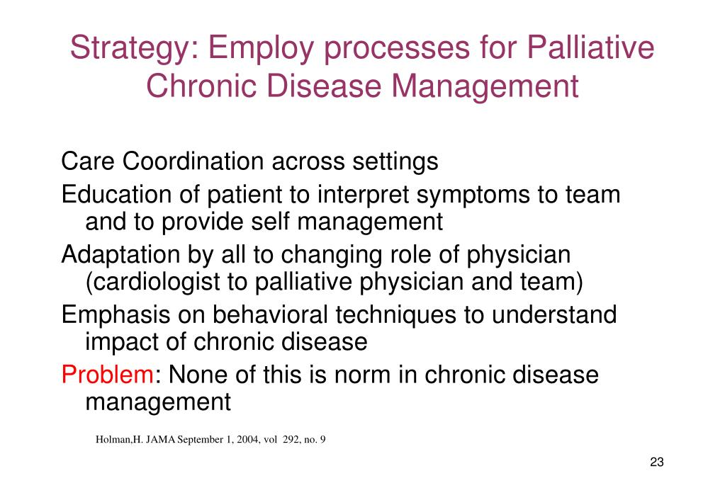 Strategy: Employ processes for Palliative Chronic Disease Management