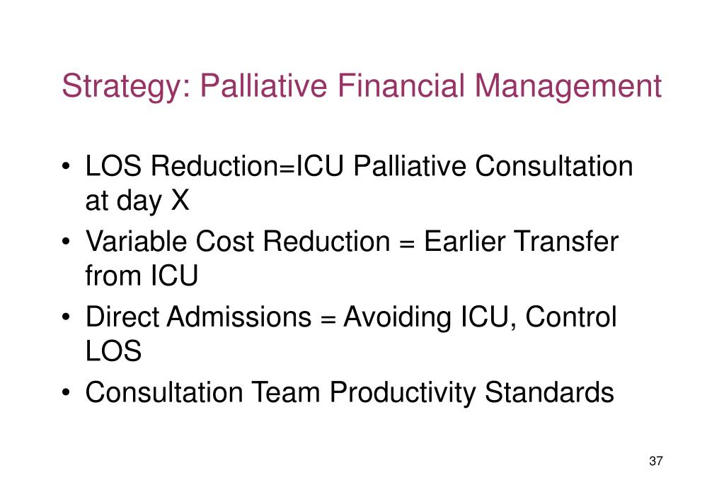 Strategy: Palliative Financial Management