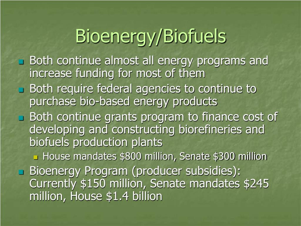 Bioenergy/Biofuels