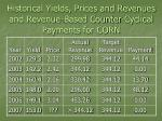 historical yields prices and revenues and revenue based counter cyclical payments for corn