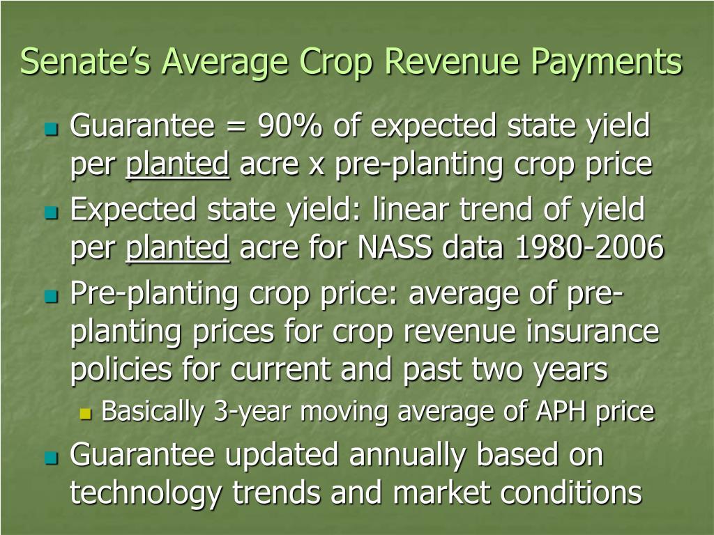 Senate's Average Crop Revenue Payments