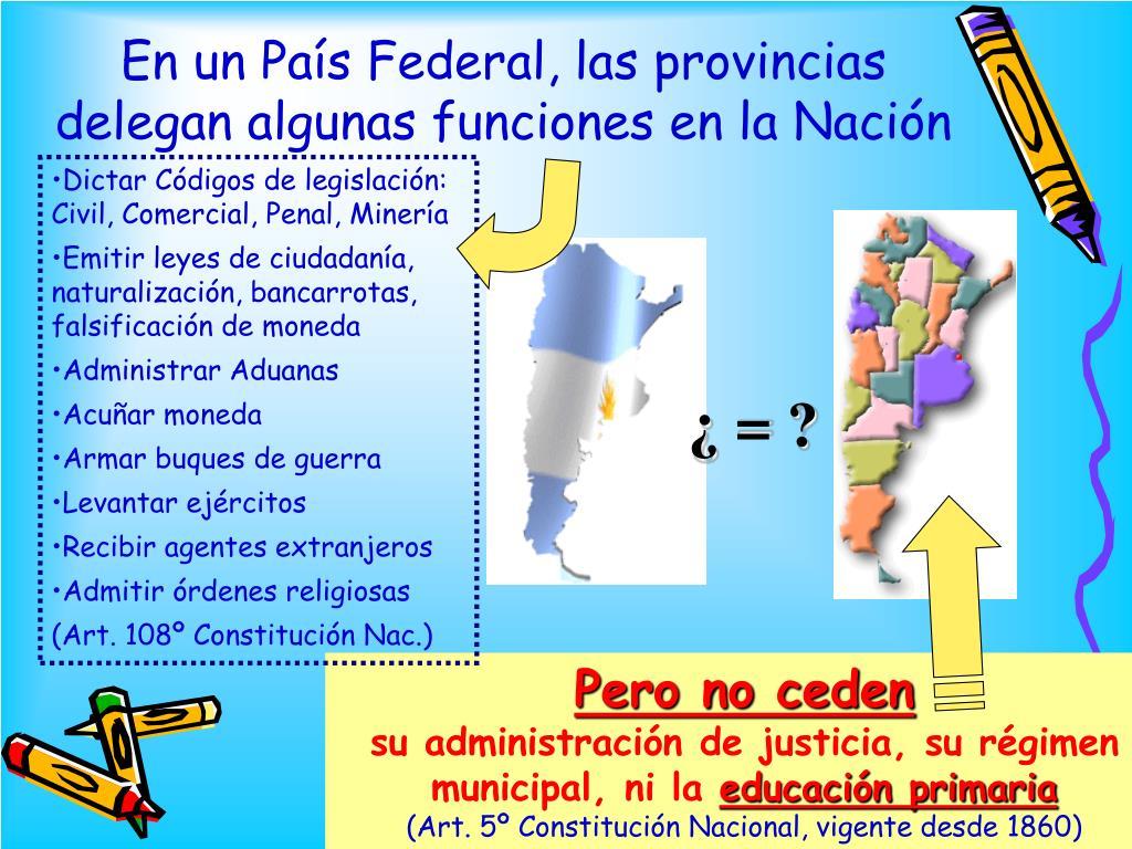En un País Federal, las provincias delegan algunas funciones en la Nación