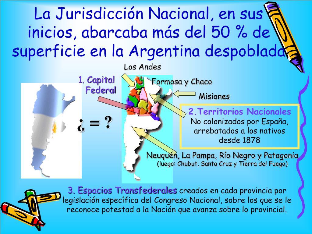 La Jurisdicción Nacional, en sus inicios, abarcaba más del 50 % de  superficie en la Argentina despoblada