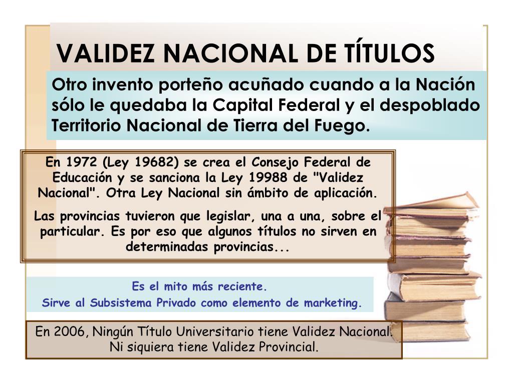 VALIDEZ NACIONAL DE TÍTULOS