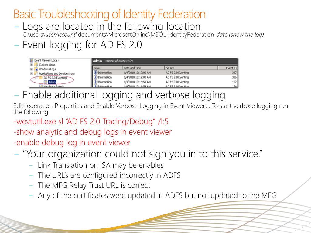 Basic Troubleshooting of Identity Federation
