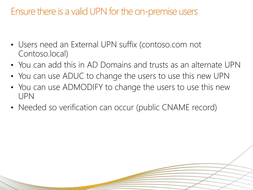 Ensure there is a valid UPN for the on-premise users