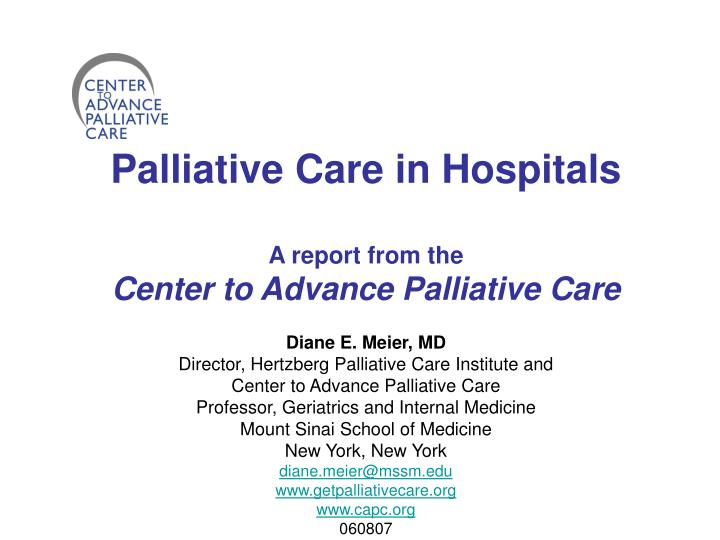 Palliative Care in Hospitals