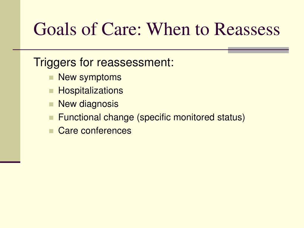 Goals of Care: When to Reassess