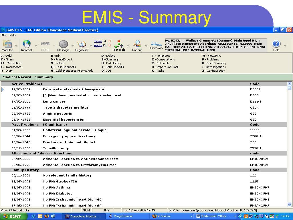 EMIS - Summary