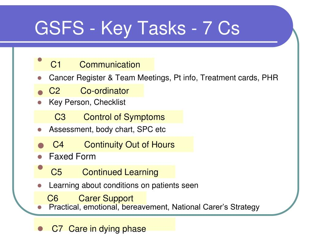 GSFS - Key Tasks - 7 Cs
