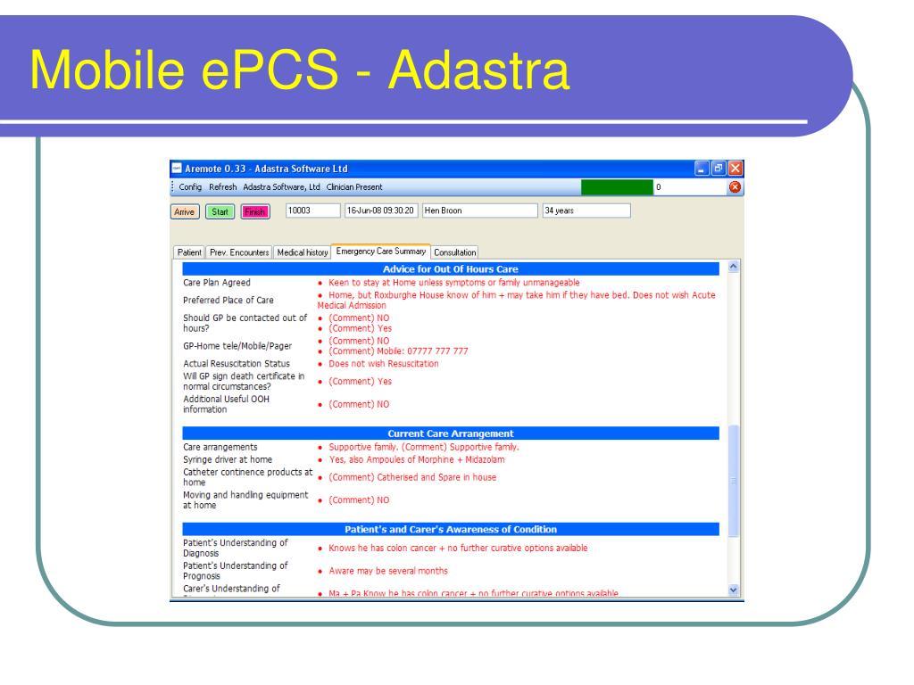 Mobile ePCS - Adastra