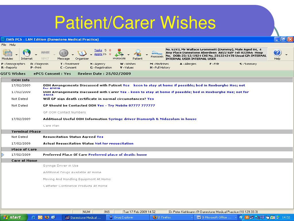 Patient/Carer Wishes