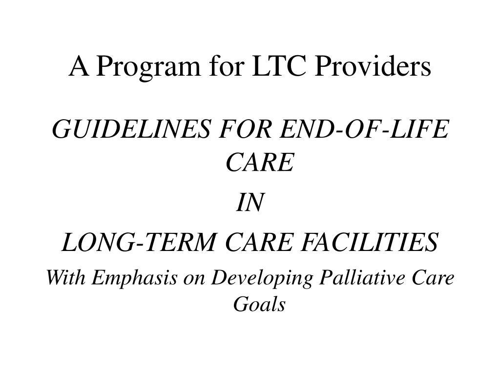 A Program for LTC Providers