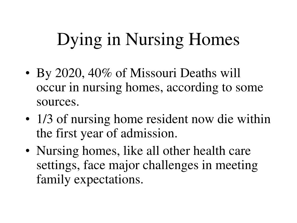 Dying in Nursing Homes