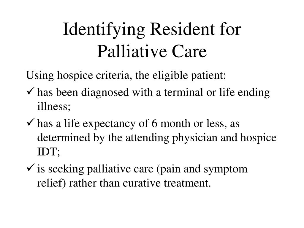 Identifying Resident for Palliative Care