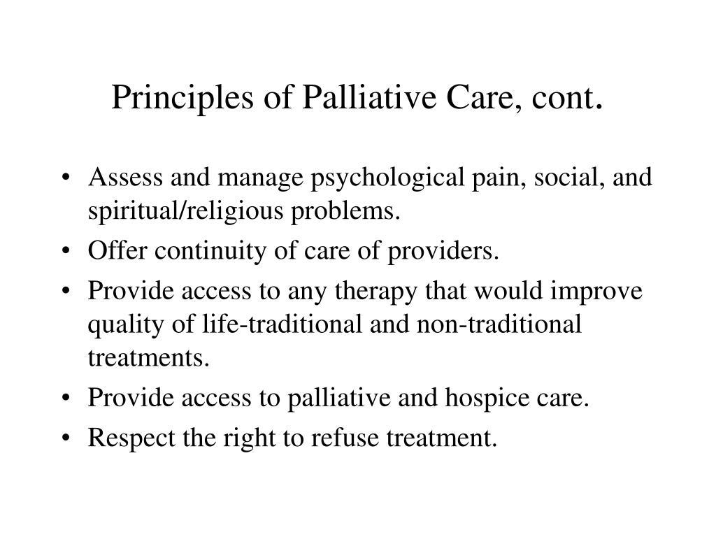 Principles of Palliative Care, cont