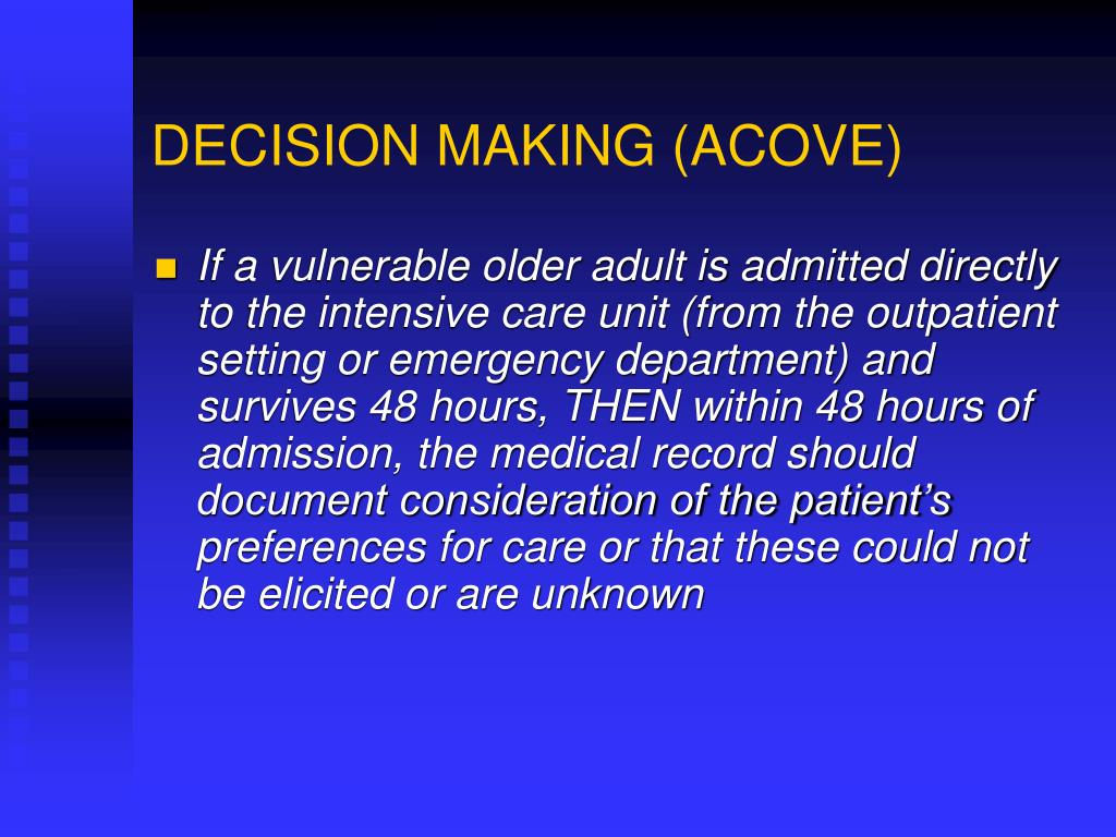 DECISION MAKING (ACOVE)