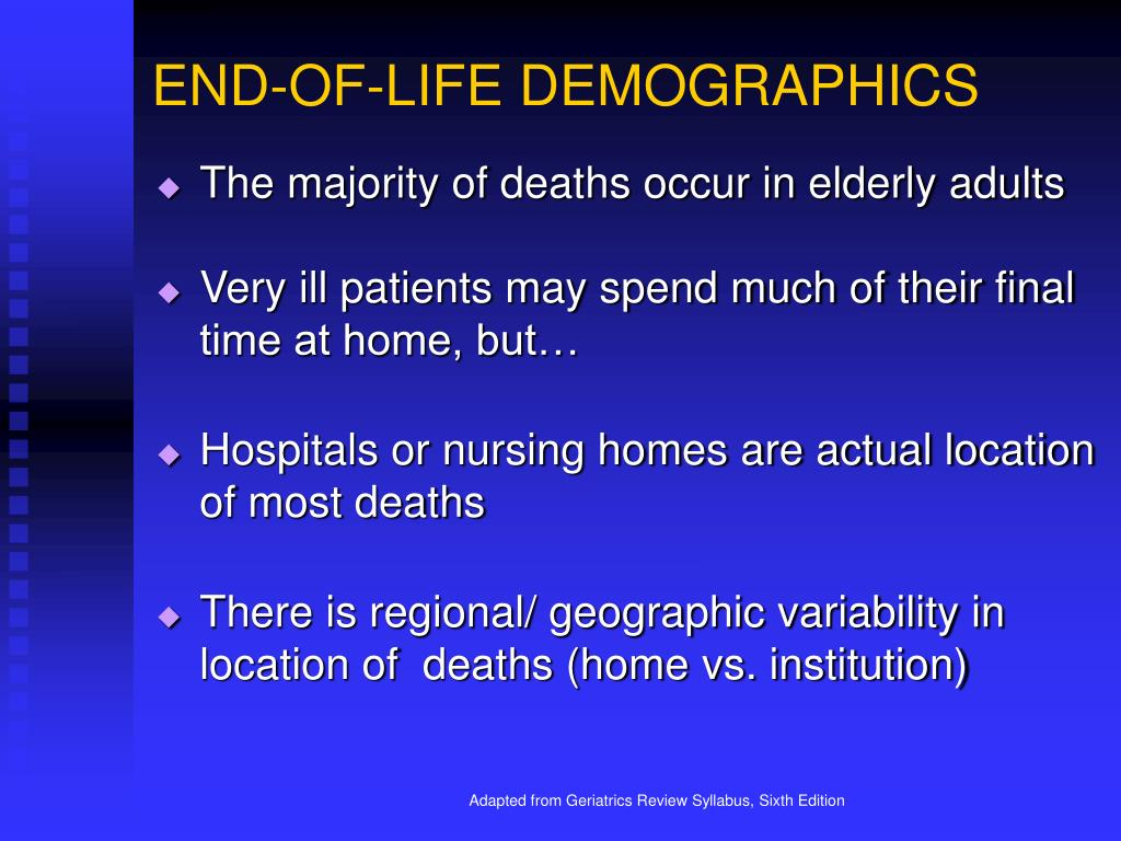 END-OF-LIFE DEMOGRAPHICS
