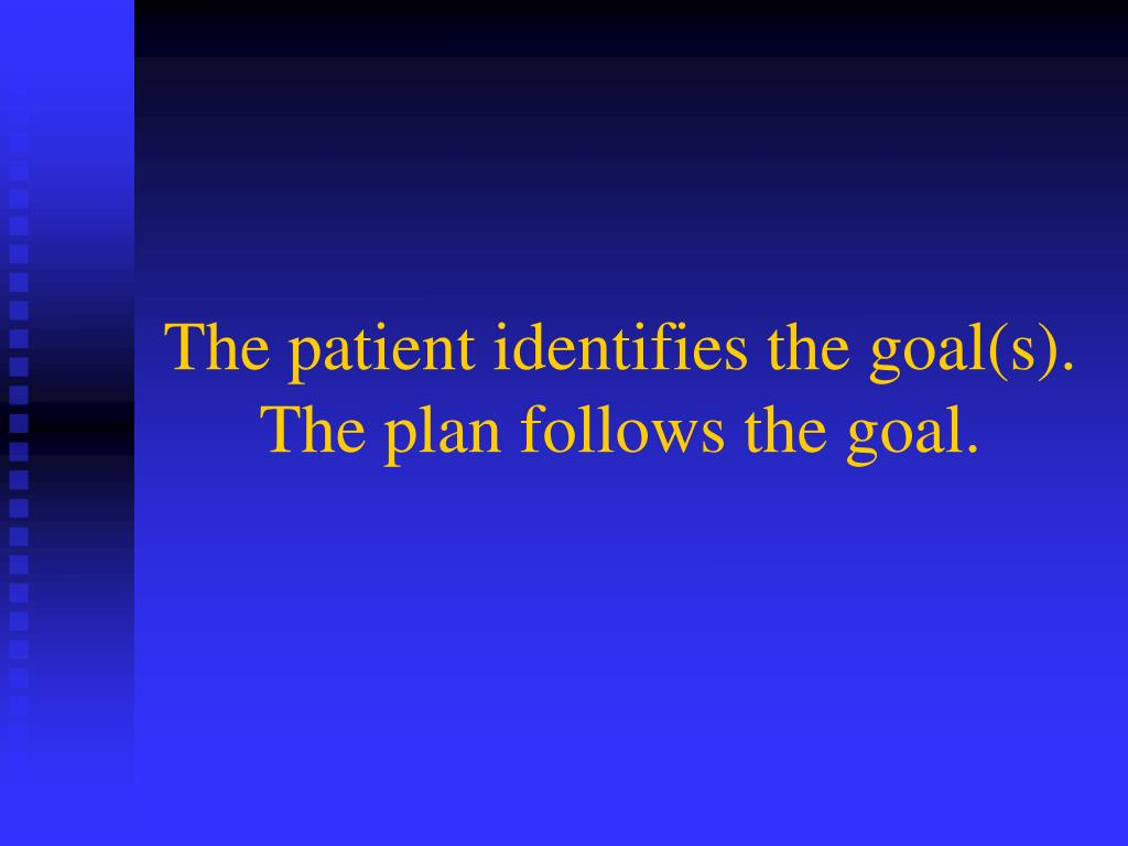 The patient identifies the goal(s). The plan follows the goal.