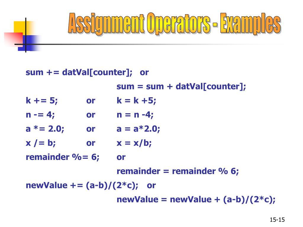 Assignment Operators - Examples