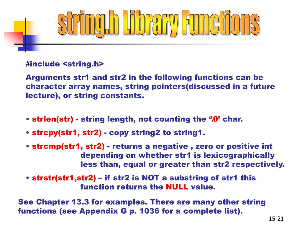 string.h Library Functions