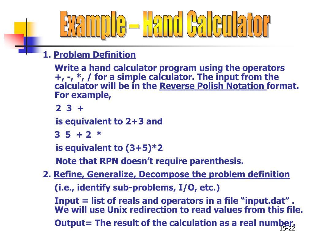 Example – Hand Calculator
