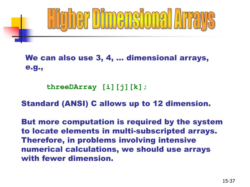 Higher Dimensional Arrays