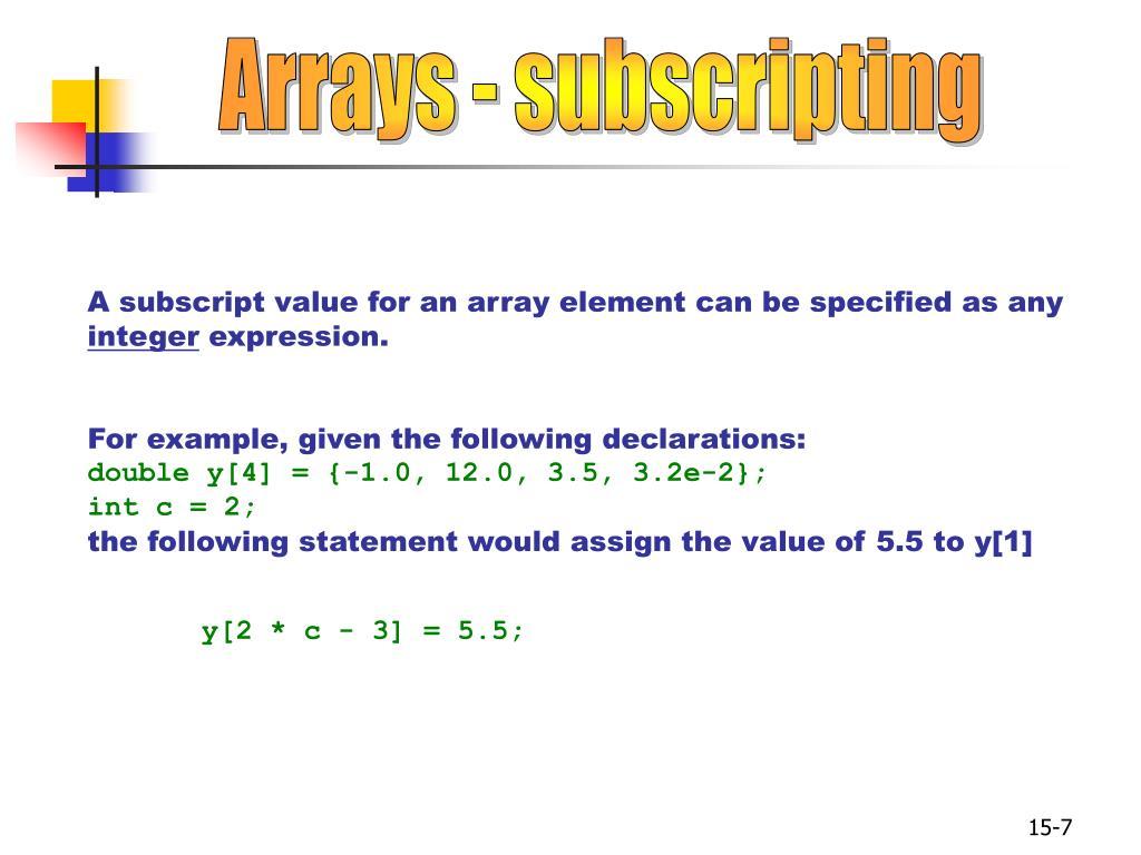 Arrays - subscripting