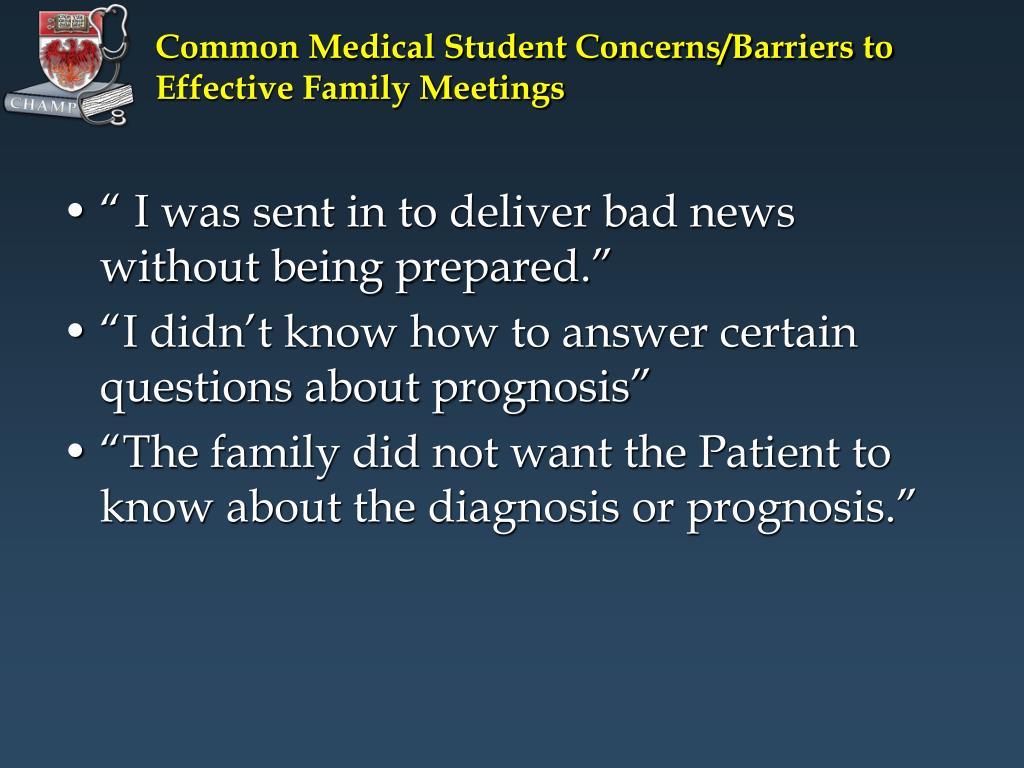 Common Medical Student Concerns/Barriers to Effective Family Meetings