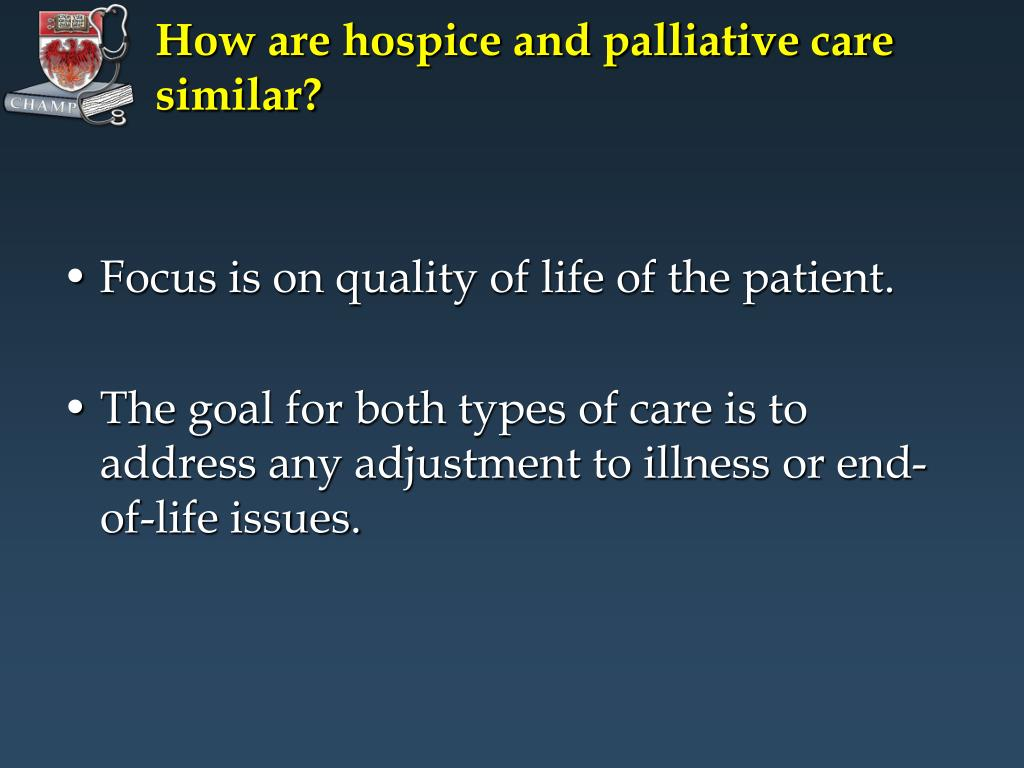 How are hospice and palliative care similar?