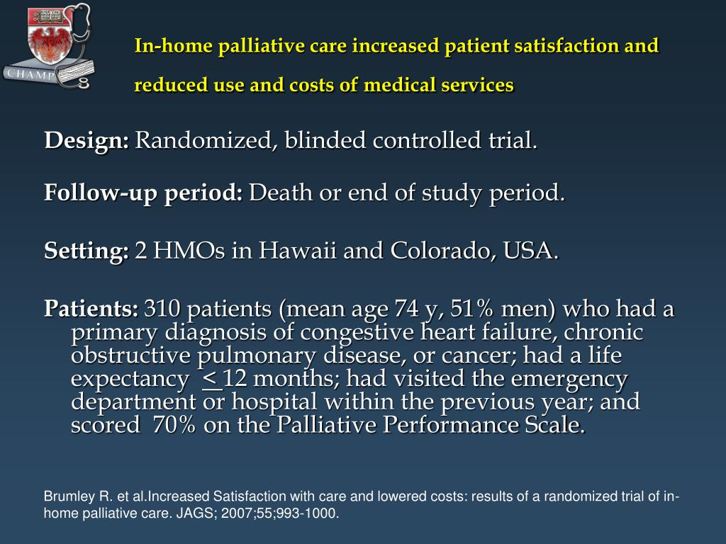 In-home palliative care increased patient satisfaction and reduced use and costs of medical services