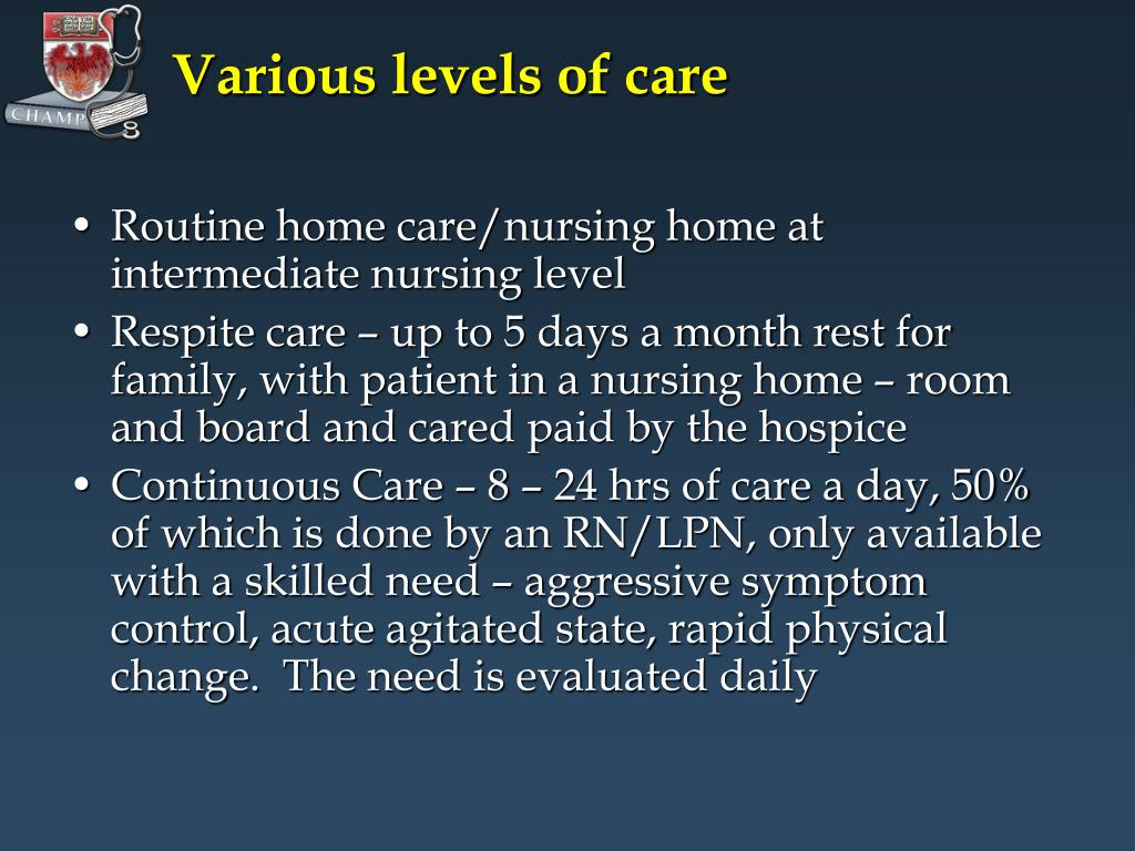 Various levels of care