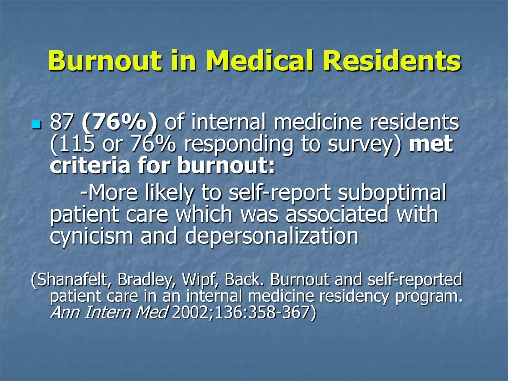 Burnout in Medical Residents