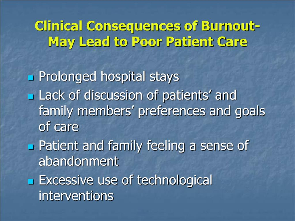 Clinical Consequences of Burnout-