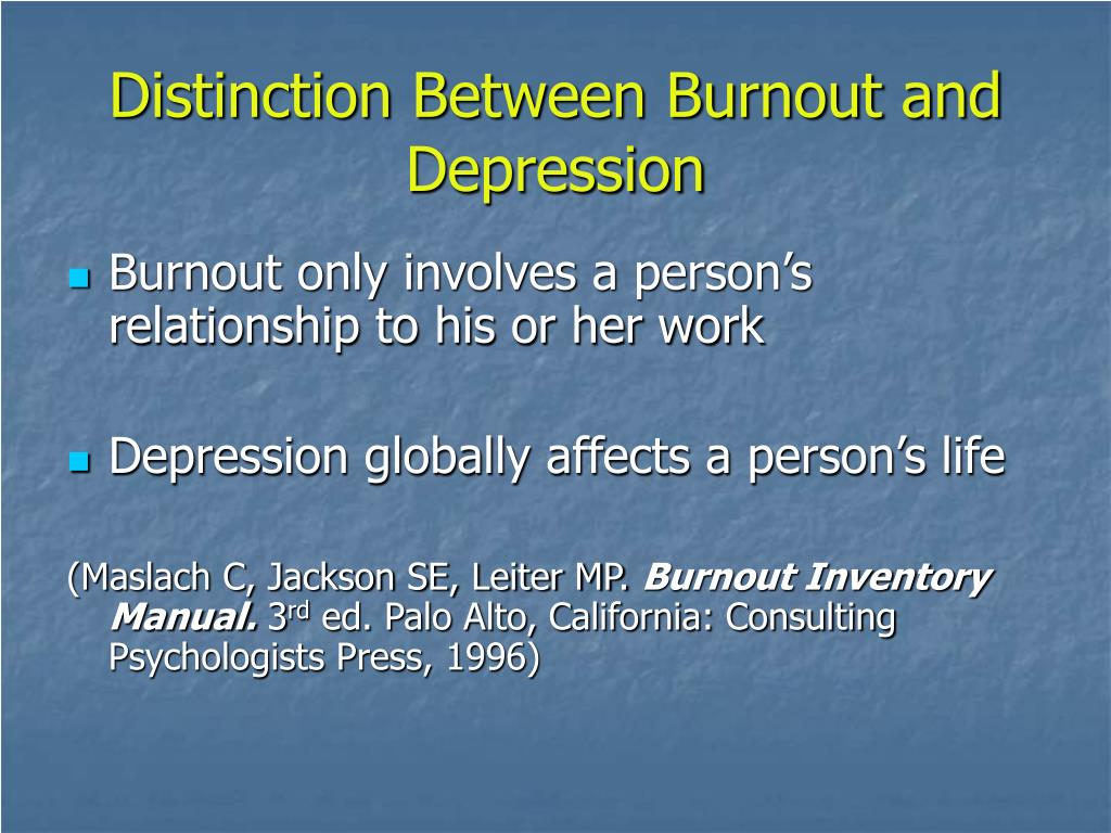 Distinction Between Burnout and Depression