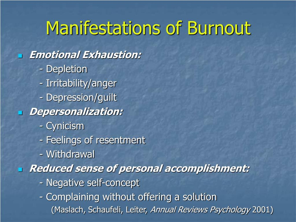 Manifestations of Burnout